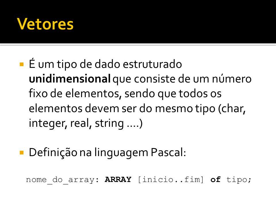 nome_do_array: ARRAY [inicio..fim] of tipo;